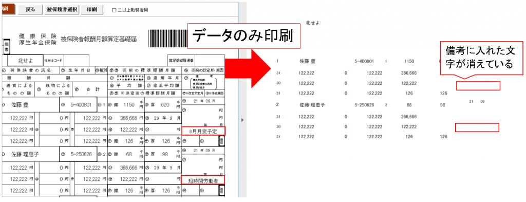 算定基礎届で白紙用紙をデータのみ印刷すると備考が表示されない