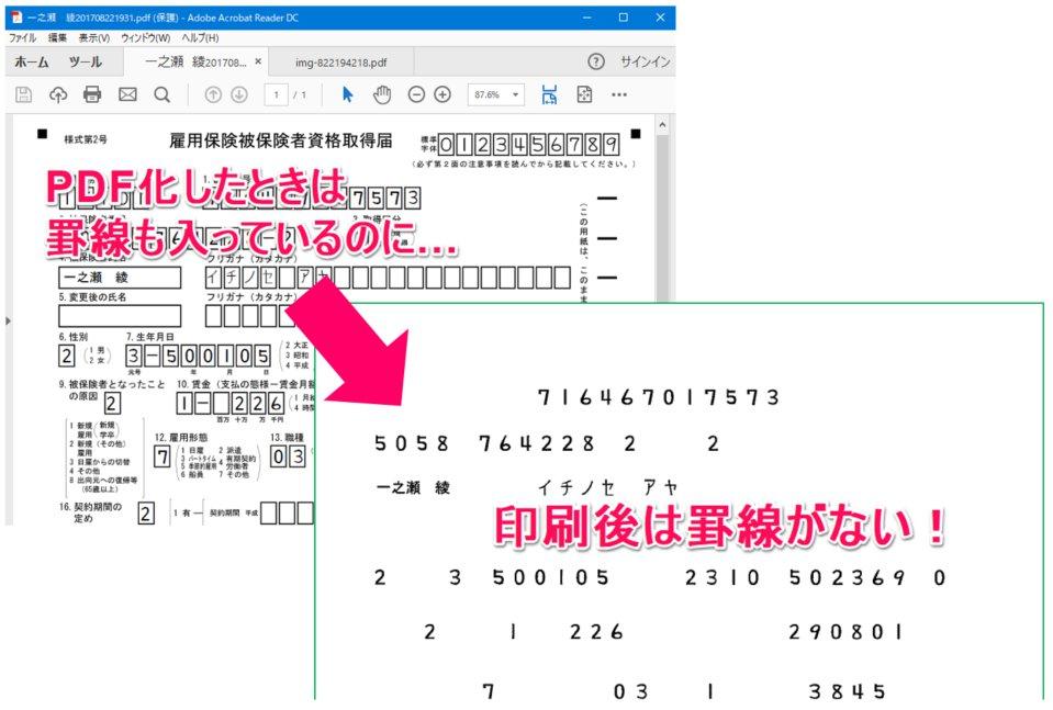 PDFにしてから印刷する書式で、印刷すると罫線が消えてしまう
