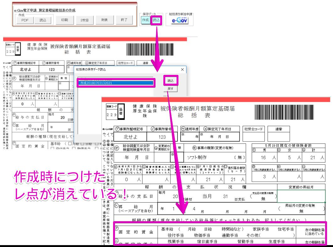 算定基礎届総括表の保存データを読み込むとレ点が消えている