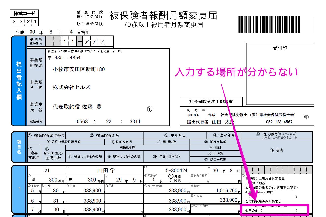 月額変更届の備考欄にある「6.その他」の内容はどこから登録できますか