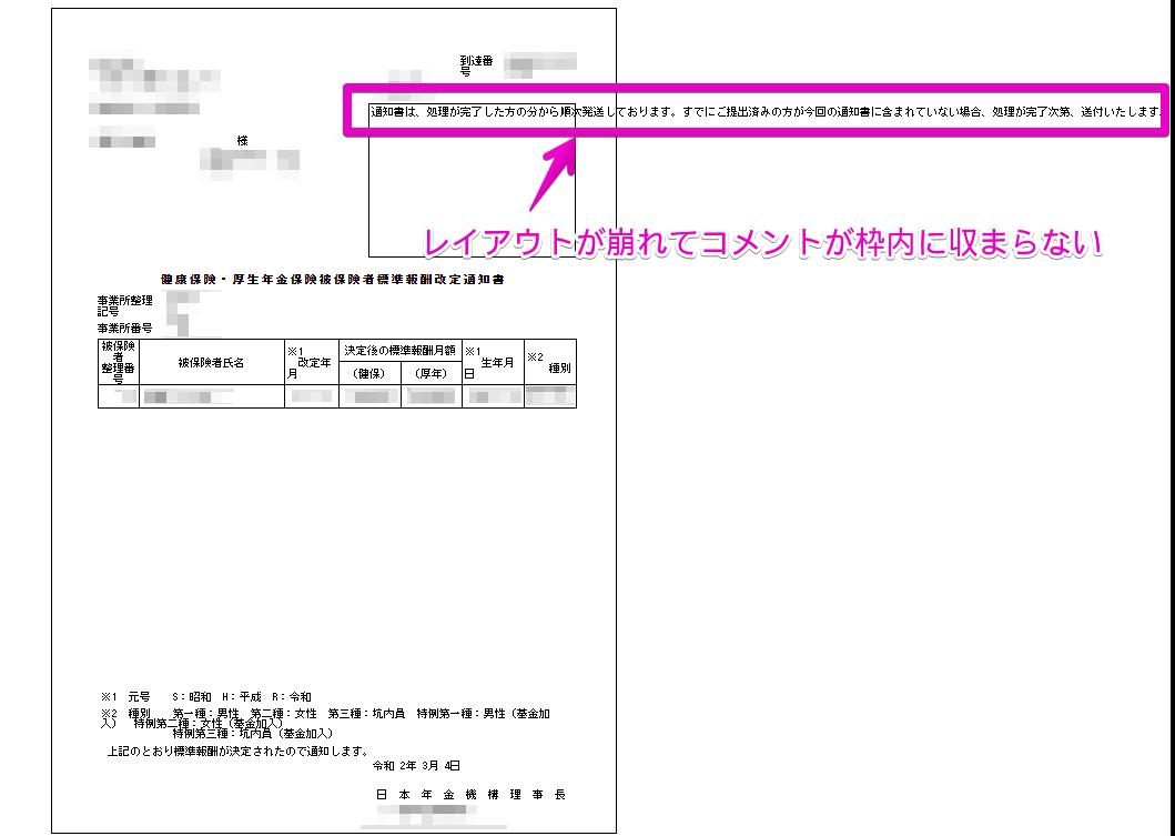 公文書アップロードで公開した社会保険の公文書のレイアウトが崩れる