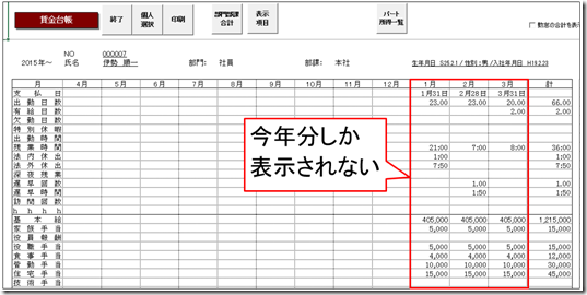 前年~本年賃金台帳で従業員のデータが年の途中から表示される
