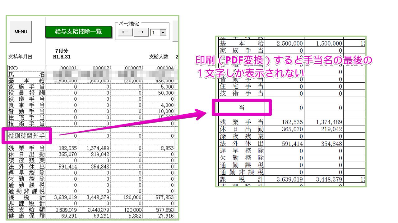 支給控除一覧表を印刷(PDFに変換)すると手当名の最後の1文字しか表示されない