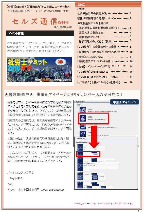 セルズ通信増刊号 H28年8月号 保険料通知について